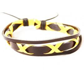 Кожаный плетеный браслет Токио желтый
