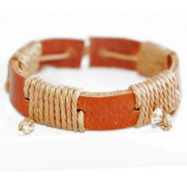Кожаный плетеный браслет Лодка