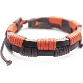 Кожаный плетеный браслет Корсар коричневый с оранжевым