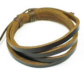 Кожаный браслет Минимализм коричневый