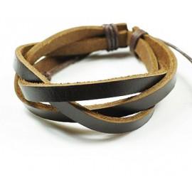 Кожаный браслет Кофе коричневый