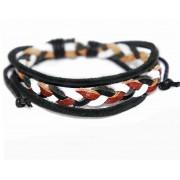 Кожаный плетеный браслет Мекка черный с коричневым
