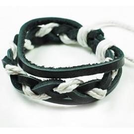 Кожаный плетеный браслет Мекка черный с белым
