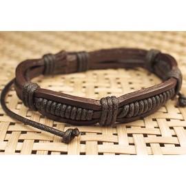 Кожаный плетеный браслет Каноэ