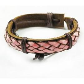 Кожаный плетеный браслет Греция коричневый с розовым