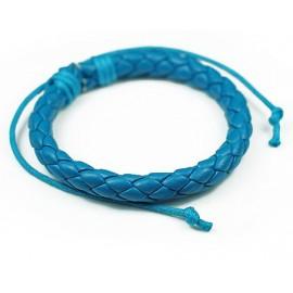 Кожаный плетеный браслет Колосок синий