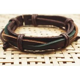 Кожаный плетеный браслет Контраст темный