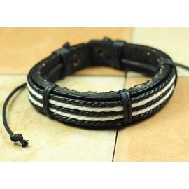 Кожаный плетеный браслет Итака черный