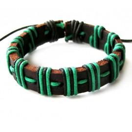 Кожаный плетеный браслет Магеллан зеленый