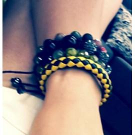 Кожаный плетеный браслет Маскарад желтый
