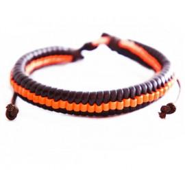 Кожаный плетеный браслет Эквилибриум черный с оранжевым