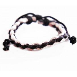 Кожаный браслет Плетеный Узор черный с белым