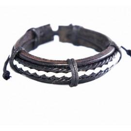 Кожаный плетеный браслет Пират темно-коричневый