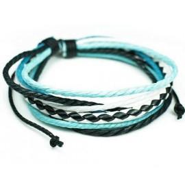 Веревочный кожаный браслет Маркиз черный с голубым