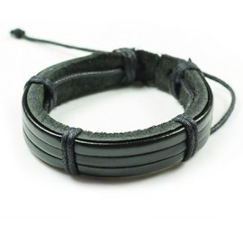 Кожаный браслет Факт черный