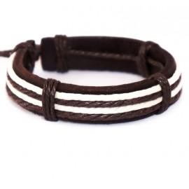 Кожаный плетеный браслет Итака коричневый