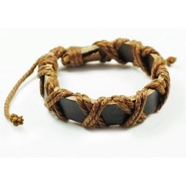 Кожаный плетеный браслет Порт