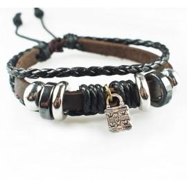 Оригинальный кожаный браслет Замок Исполнения Желания