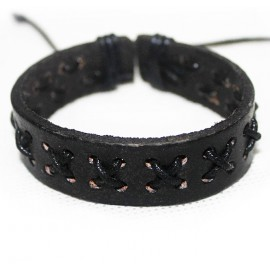 Кожаный плетеный браслет Манифест черный