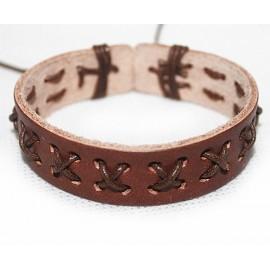 Кожаный плетеный браслет Манифест коричневый