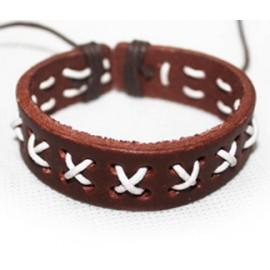 Кожаный плетеный браслет Манифест коричневый с белым
