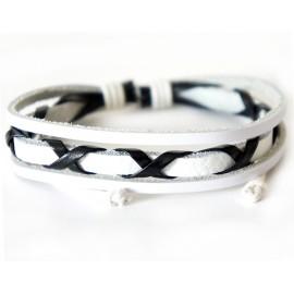 Кожаный плетеный браслет Токио белый
