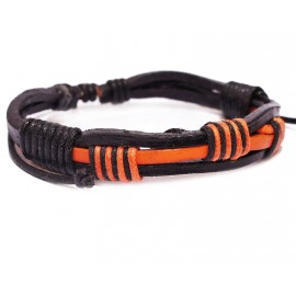 Кожаный плетеный браслет Египет черный с оранжевым
