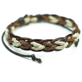 Стильный кожаный плетеный браслет Сицилия коричневый с белым