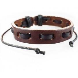 Кожаный плетеный браслет Шерлок коричневый