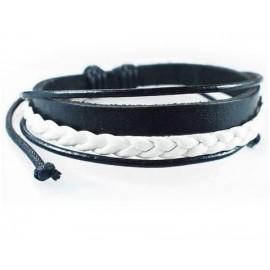 Кожаный модный браслет Рассвет черный с белым