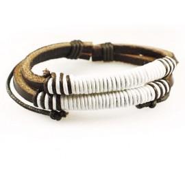 Кожаный плетеный браслет Парус