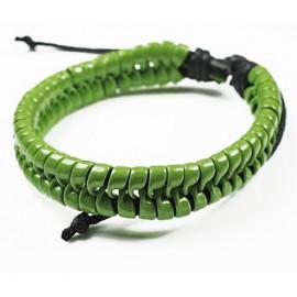 Кожаный плетеный браслет Свежая Зелень