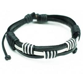 Кожаный плетеный браслет Египет черный с белым