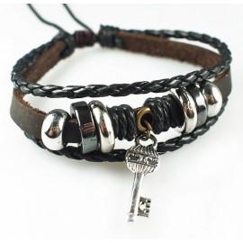 Оригинальный кожаный браслет Счастливый Ключ