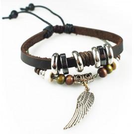 Оригинальный кожаный браслет Крыло Ангела
