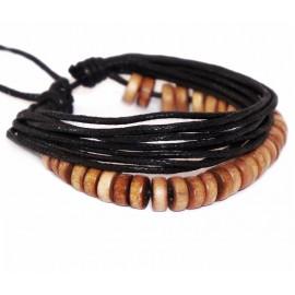 Веревочный кожаный браслет Четки коричневый