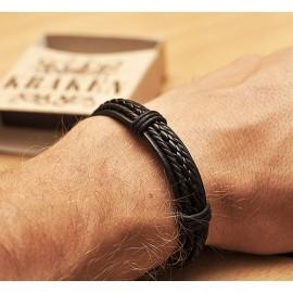 Кожаный плетеный браслет Пират черный