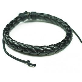 Кожаный плетеный браслет Колосок черный