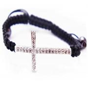 Оригинальный плетеный браслет Крест со стразами