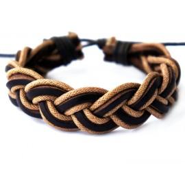Кожаный оригинальный браслет Косичка