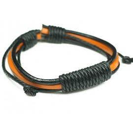 Кожаный плетеный браслет Монте Кристо черный с оранжевым