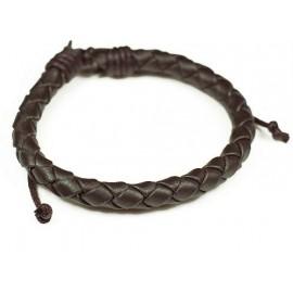 Кожаный плетеный браслет Колосок коричневый