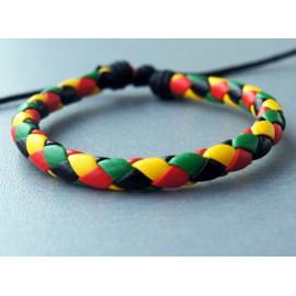 Кожаный плетеный браслет Ска