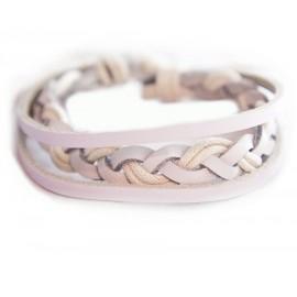 Кожаный плетеный браслет Мекка белый
