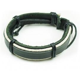 Кожаный плетеный браслет Сумерки черный с белым