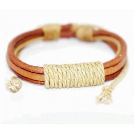 Кожаный плетеный браслет Монте Кристо светло-коричневый