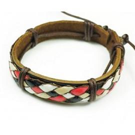 Кожаный плетеный браслет Греция разноцветный