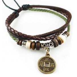 Оригинальный кожаный браслет Китайская монета счастья