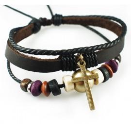 Оригинальный кожаный браслет Латинский крест