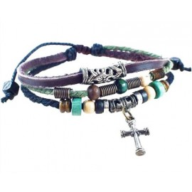 Оригинальный кожаный браслет Древний крест